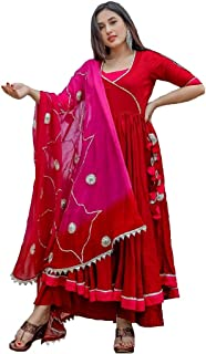 Style Amaze Women's Red Cotton Silk Anarkali Salwar Suit with embroidered Dupatta