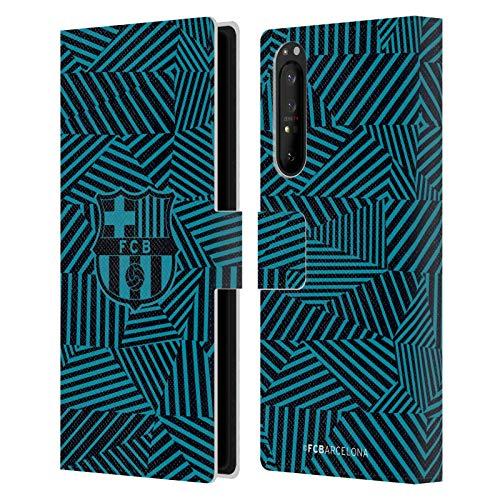 Head Case Designs Licenciado Oficialmente FC Barcelona Negro 2017/18 Crest Carcasa de Cuero Tipo Libro Compatible con Sony Xperia 1 II 5G