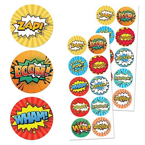 Superhéroes Niños Pegatinas - 10 diseños, 20 Hojas, 200 Pegatinas