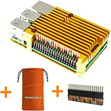Makeronics Raspberry Pi Golden Armor Case| Raspberry Pi Metal Case Without Fan |Aluminium Alloy Case for Raspberry Pi 3 B+ / Pi 2/3 Model B with Instruction | Support GPIO Rainbow Ribbon Cable