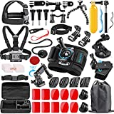 Rayhom Action Camera Accessories Kit 53-In-1 for GoPro Hero 7 6 5 4 3+ 3 2 1 Hero Session 5 Black Accessory Bundle Set for GoPro 2018 Session/Fusion Black Silver DBPOWER AKASO APEMAN YI Campark SJ4000