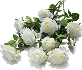 Mixed Blooms & Buds Silk Princess Rose Spays, 4PK Bundle, Faux Flower & Greenery Stems for Indoor Outdoor Wedding Home Decor (White)