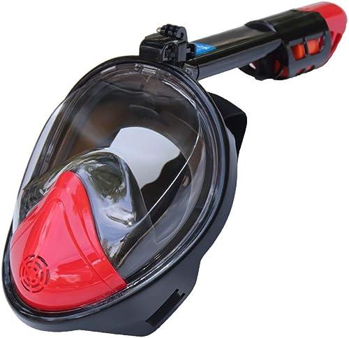 CHQSMZ Masque De Plongée Masques De Plongée avec Masque Complet 180 Vue Anti-Buée Anti-Fuite Masque De Plongée sous-Marine pour La Plongée sous-Marine Rouge Noir Bleu Vert L XL Plat-Rouge