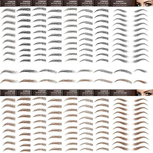 16 Blatt 160 Paare Augenbrauen Tattoo Aufkleber Sticker 6D Haarähnliche Eyebrow Tattoo Aufkleber Augenbrauen Transfer Aufkleber Damen Eyebrow Shaping Schablonen Wasserdicht Braun+schwarz