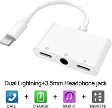 iPhone 11 Adapter 3 in 1 Dual Headphone Splitter Adapter with 3.5mm Headphone Jack Audio Adapter Fast Charge Splitter for iPhone 11/Xmax/ 8/8 Plus/iPhone X/iPhone 7/7 Plus Compatible with iOS 13