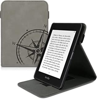 kwmobile Cover for Amazon Kindle Paperwhite (10. Gen - 2018) - Faux Nubuck Leather Case with Built-in Hand Strap and Stand - Grey