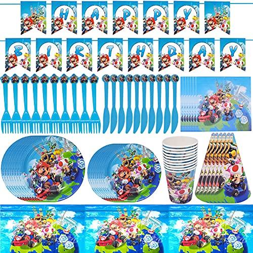 Super Mario Pack Vajilla,CYSJ 78 PCS Vajilla Diseño de Super Mario Desechable Accesorio de Decoración de Fiesta de Cumpleaños Apoyo para Celebración Pancarta Platos Vasos Servilletas