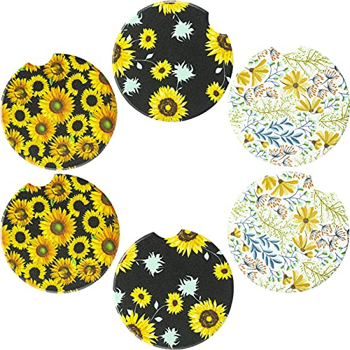 Yeeper 6 Packs 2.56 inch Car Coasters for Cup Holder, Absorbent Ceramic Car Cup Holder Coaster for Women & Girls, with Fingertip Grip, Removable Cute Auto Car Decor Accessories , Sunflower