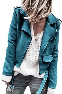 Women's Faux Suede Motorcycle Biker Short Coat Jacket Slim Zipper Jacket