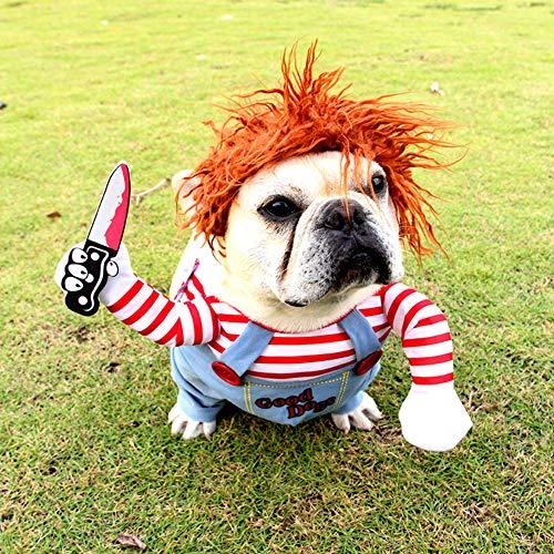 Jinghuash Disfraz de Perro Mortal para Perro de Miedo, Ropa de Halloween, Cosplay, muñeca Chucky, Disfraz de Perro, para Fiestas de Perro, Ideal para Perros Grandes y pequeños(L)