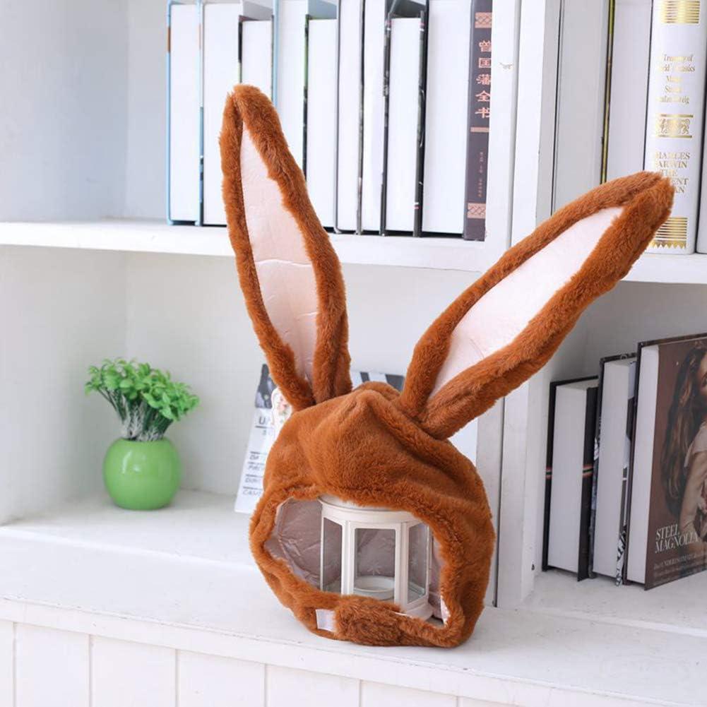 Mothcattl Cute Plush Rabbit Bunny Ears Hat Earflap Cap Head Warmer Photo Supplies for Girls Beige