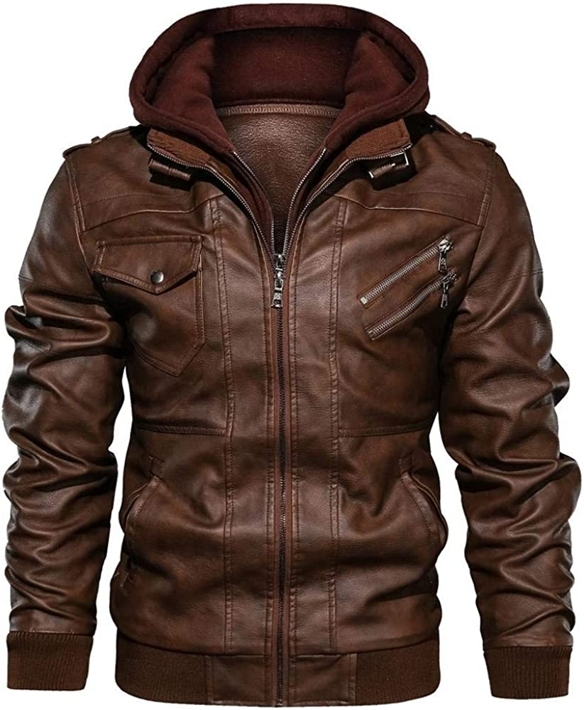 HGWXX7 Men PU Popular brand Faux Leather Motorcycle Zip Recommended up Bomber Jacket Coats