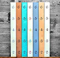 Growth Chart Art | Wooden Growth Chart Ruler for Boys + Girls | Kids Growth Chart Wood | Measuring Kids Height Wall Décor | Naked Birch with Multi-Colored Numerals
