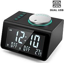 FPRW Reloj de Radio Digital, Pantalla de Temperatura del Puerto de Carga USB Relojes de Mesa con repetición, Reloj Despertador con Control de Perilla de Radio Digital FM, Tipo 2