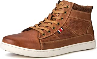 Jivana Men's High Top Leather Sneaker Casual Shoes Lace-up Blue/Brown