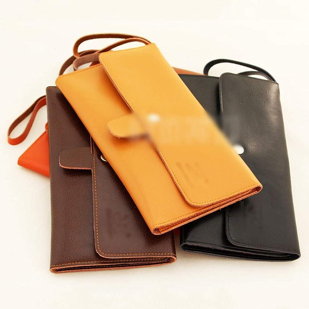 笑くメロディアスJPAKIOS 革のはさみポーチ理容櫛収納袋ペットツールバッグ (色 : ブラウン)