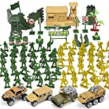 TOY Life Plastic Army Men Plus Die Cast Military Toy Vehicles Play Set   95pc Piece Army Toys Gift Set for Boys   Includes Toy Soldiers Army Base Toy Props Plus 4 Diecast Military Toy Vehicles