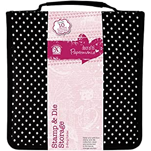 docrafts Papermania Stamp and Die Black Polka Dot Storage Case with 10 Pockets Containing Magnetic Sheets:Carsblog