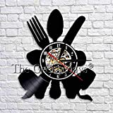 fdgdfgd Clásico Disco de CD Utensilios de Cocina Cocina Art Deco Reloj de Pared Vajilla Reloj Retro de Vinilo Reloj de Tiempo Arte Montaje en Pared Cocina | Decoración única para el hogar
