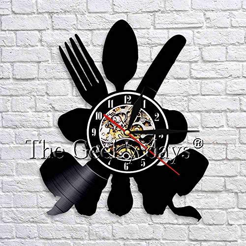 fdgdfgd Clásico Disco de CD Utensilios de Cocina Cocina Art Deco Reloj de Pared Vajilla Reloj Retro de Vinilo Reloj de Tiempo Arte Montaje en Pared Cocina   Decoración única para el hogar