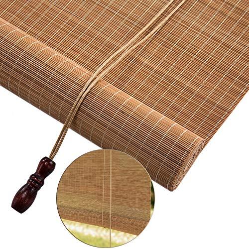 Estores Enrollables Exterior de Sombra de Rodillo Extra Ancho, Persianas Enrollables de Bambú de Color Carbonizado, para Garden Gallery Balcony, 1/1.2/1.5/1.8/2 / 2.5/2.6m de Largo