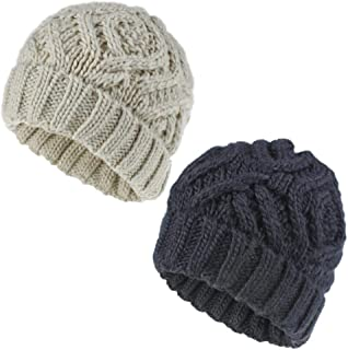 YYW Winter Hats for Women Knitted Womens Beanie Thick Warm Fall Beanie Hat Slouchy Beanies 2 PCS Pack