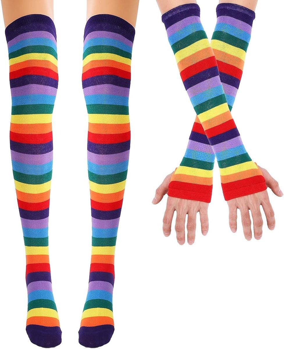 Freebily Women Girls Colorful Rainbow Striped Knee Thigh High Socks/Arm Warmer Gloves for Halloween Costume Fun Party