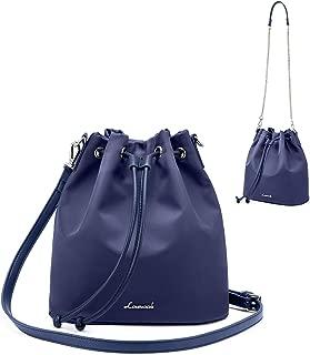 Drawstring Handbag Bucket Bags for Women Oxford Nylon with 2-Style Strap