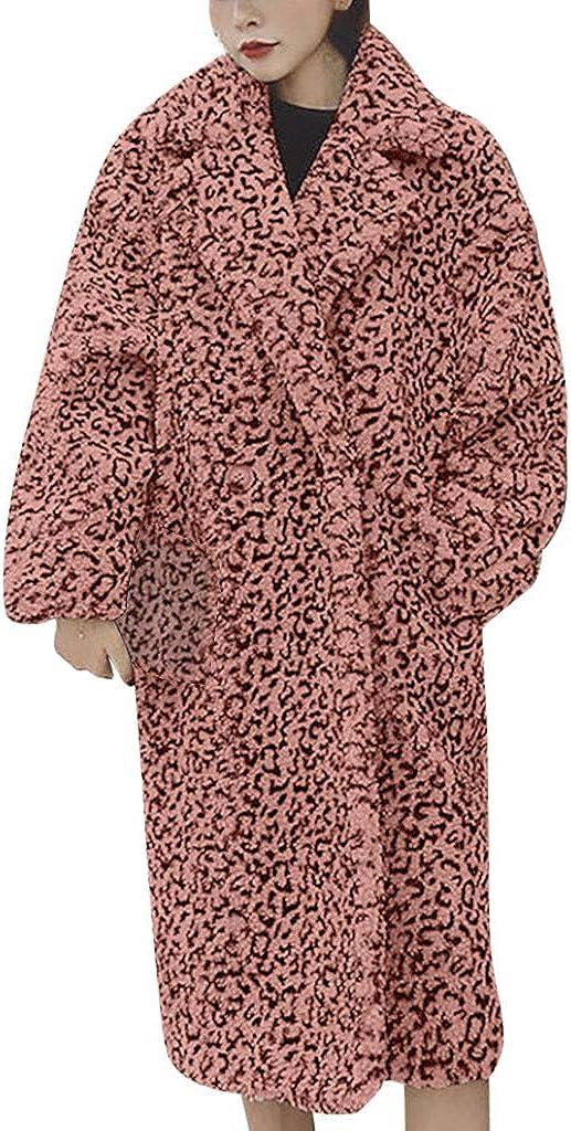 NRUTUP Plus Size Leopard Print Faux Fur Jacket Women Long Teddy Bear Jacket Sherpa Pea Coat Winter Warm Overcoat