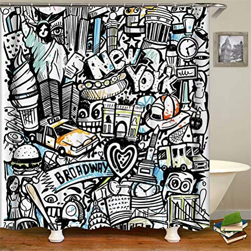 SLN Haus Dekoration. Graffiti Der New Yorker Freiheitsstatue. Duschvorhang: 180X180 cm. 12 C-Förmige Haken. 3D Hd Druck. Wasserdicht. Nicht Verblassen.