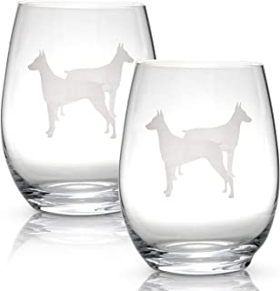 Doberman Stemless Wine Glasses (Set of 2) | Unique Gift for Dog Lovers | Hand Etched with Breed Name on Bottom