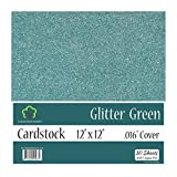 """Glitter Green Cardstock - 12 x 12 inch - .016"""" Thick - 10 Sheets"""