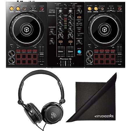 Pioneer DJ DDJ-400 Portable Rekordbox DJ Controller w/ AxcessAbles Stereo Headphones and eStudioStar Polishing Cloth