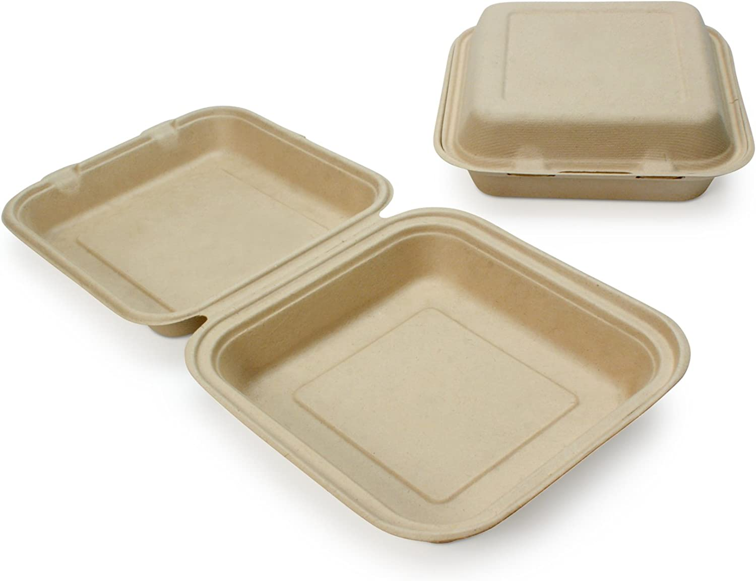 Earth's Natural Alternative Wheat Straw Fiber, Bagasse (Sugarcane) Tree Free 9  Clam Shell Container, 200 Case