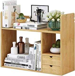 XJJUN Storage Shelf Bookcase With 2 Drawers For Home And Office Desktop Bookshelf,strong And Sturdy, 2 Styles, 2 Sizes (Co...