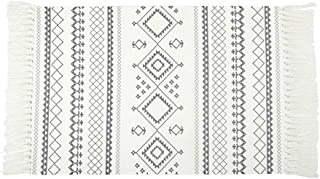 Woven Cotton Small Throw Rug 2'x3' Floor Mat for Indoor Outdoor Tassel Boho Floor Rugs Bath Kitchen Rug
