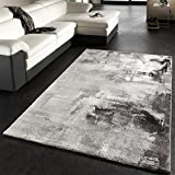 Paco Home Tapis Design Moderne Toile Splash Gris Noir Blanc Marbré, Dimension:80x150...