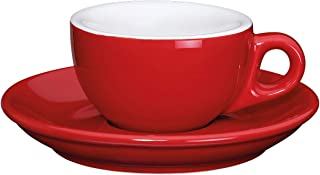 Cilio Roma Red Porcelain 1.7 Ounce Espresso Cup & Saucer, Set of 2