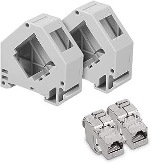 kwmobile Keystone Module Jacks - 2X CAT6A Shielded Keystone Jack RJ45 Cat 6A Ethernet Module 10 Gbit with Shielded Metal Housing and DIN Rail Holders