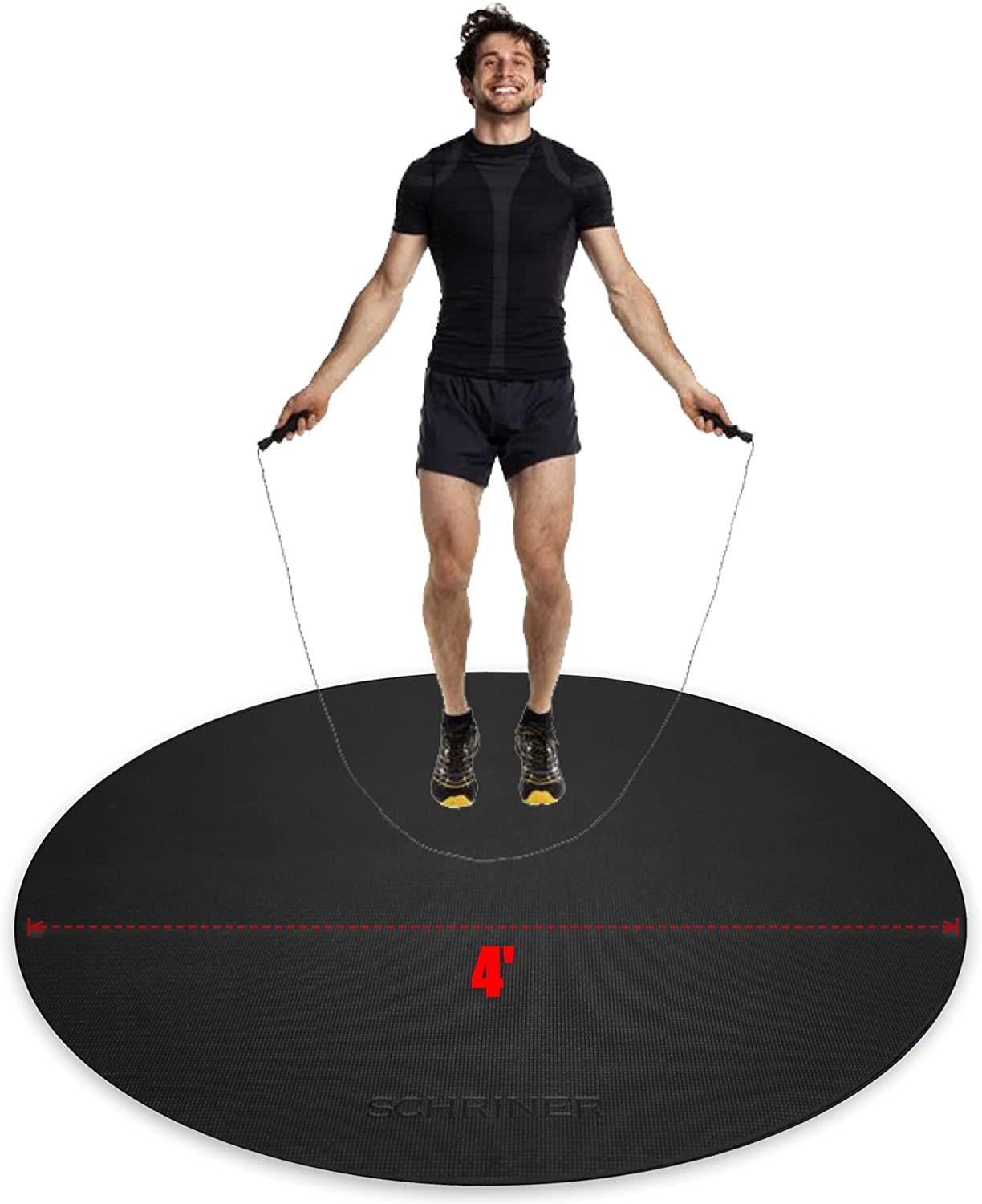SCHRINER Pro Round Jump Rope Bargain Mat Card x trend rank for Workout 4' 6mm