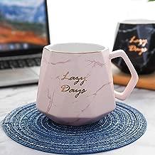 TFWell Cute Coffee Mug, Marble Ceramic Mug, Novelty Tea Cup, Unique Coffee Mug Gifts for Women, Man, Girls, Boys, Friends and Family, 14oz (Pink)