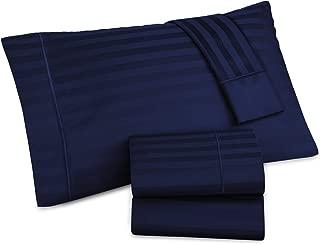 AURAA Comfort 500 Thread Count 100% American Supima Long Staple Cotton 4 Pc Sheet Set,Sateen Weave,Damask Stripe, Fits Upto 16