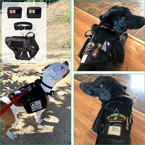 WINSEE Tactical Dog Harness and Collar with Backpack