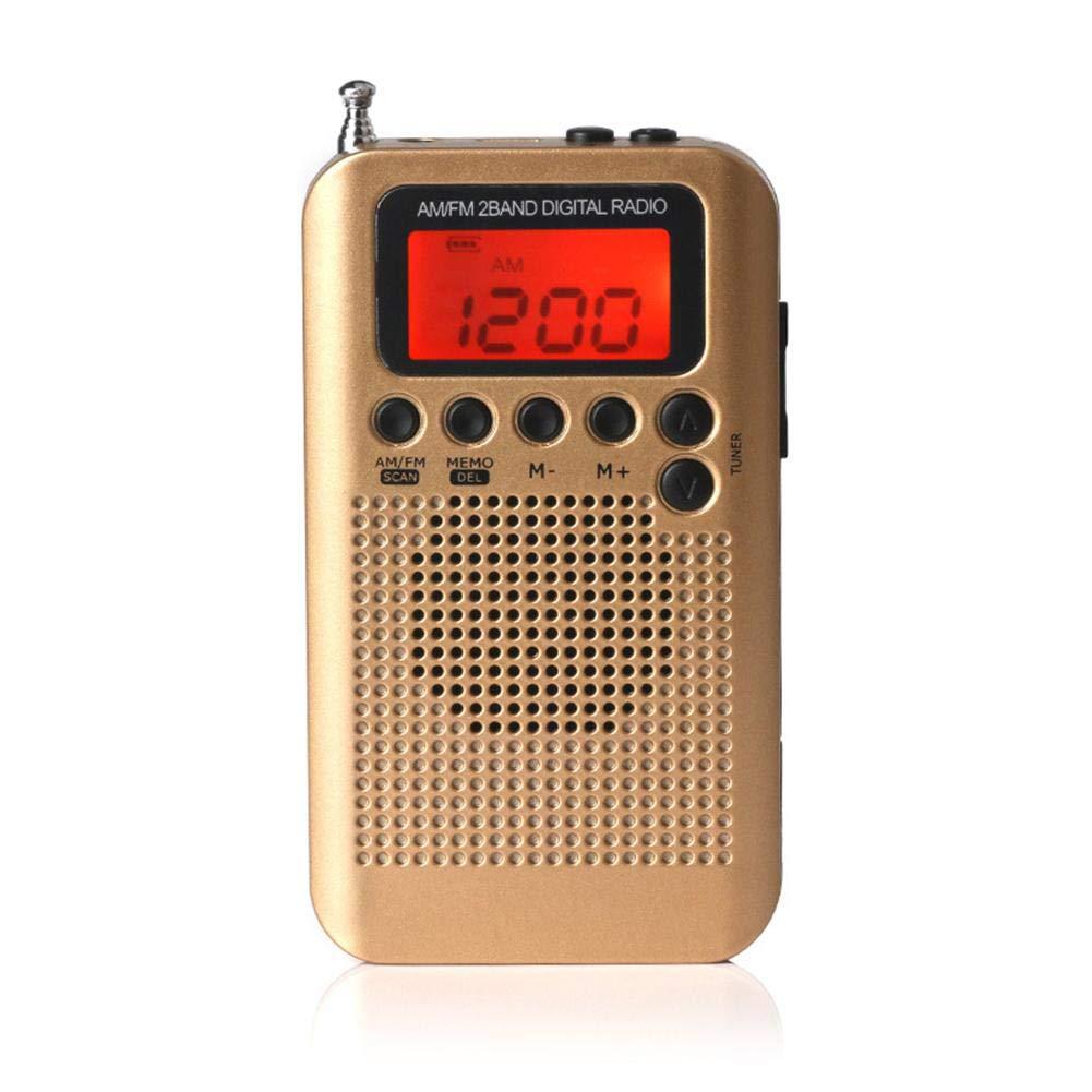 redshooeYY Han Rongda Mini Am FM HRD-104 Radio Port/átil De Dos Bandas Y Altavoz Externo Port/átil