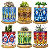 Mandala Succulent Pot with Drain Hole & Bamboo Saucers Trays, Mini Flower Pot Bohemian Ceramic...
