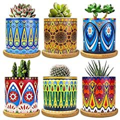 """【Mandala Succulent Planters】- You will get 6 pack small succulent plant pots with bamboo trays. Planters approx size is 3""""x 3""""(L x W), bamboo trays diameter 3.6"""", thickness 0.4"""". Mandala garden pots mada of clear and sturdy ceramic, designed with col..."""