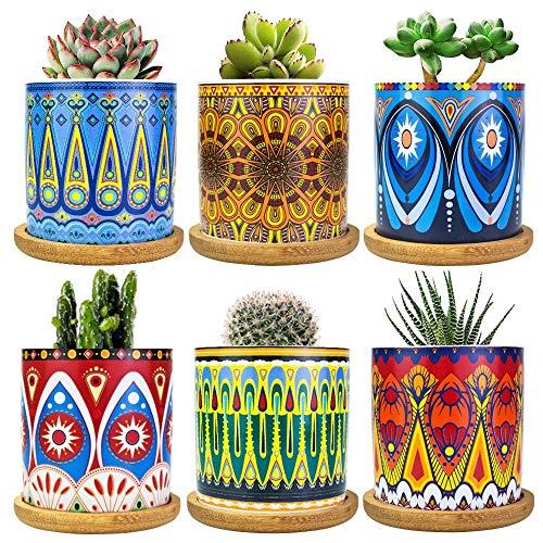 Mandala Succulent Pot with Drain Hole & Bamboo Saucers Trays, Mini Flower Pot Bohemian Ceramic Succulent Planter Pot for Small Plant-6 Pack