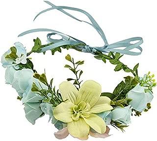 Handmade Rose Flower Wreath Crown Halo for Wedding Festivals (Blue)