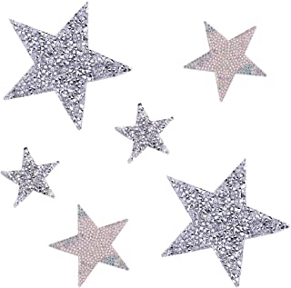 PandaHall Elite 6 pcs 3 Sizes Star Crystal Glitter Rhinestone Stickers Iron on Stickers Bling Star Patches for Dress Home Decoration