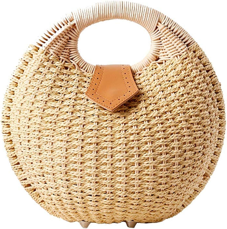 ROZKITCH Women's Rattan Handbags Handwoven Hobo Bag Round Handle Ring Summer Beach Straw Bag
